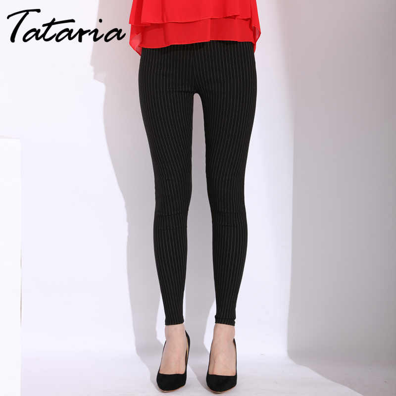 Tataria Striped Skinny Pants Female Elastic Waist Causal Pants Woman Plus Size OL Style Work White Black Long Pencil Pant