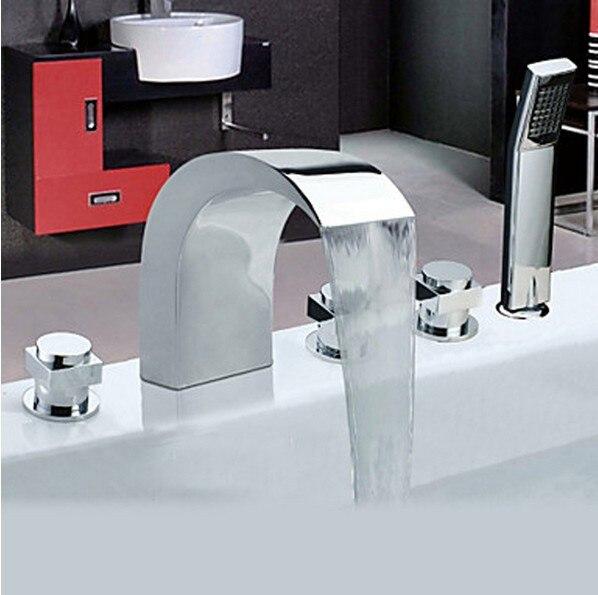 deck mounted chrome roman waterfall bathroom tub faucet 5pcs w hand showerchina - Roman Tub Faucets