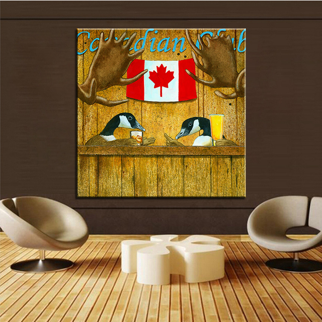 Large size Printing Oil Painting the canadian club Wall painting ...