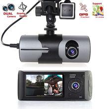 """HD Двойная камера спереди/сзади Cam регистраторы управлять рекордер автомобиля Blackbox DVR 2.7 """"TFT ЖК-дисплей с GPS Logger и g-сенсор"""