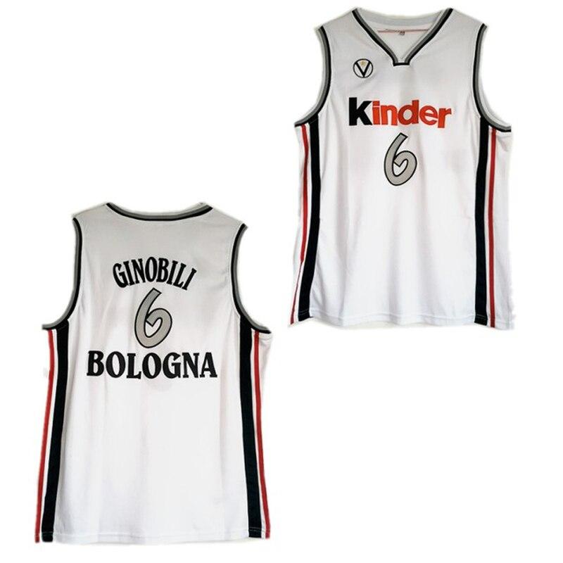 3e4d6d975de Throwback Manu Ginobili 6 Virtus Kinder Basketball Jersey White Stitched  Retro Basketball Shirts