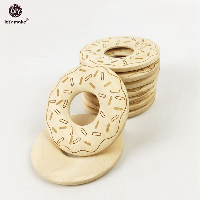9060623a0b2 Let s make 20PC Donut Wooden Ring Teether Nature Organic Eco-friendly  Accessories Craft Tools For Necklace Bracelet
