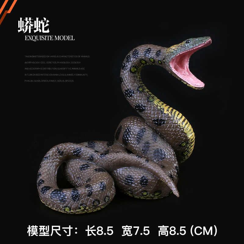 Dzikie zwierzę prezent model zabawkowy dzieci solidny świat kobra wąż grzechotnik Zoo wąż dzika obecna Boa figurka ozdoby Mini