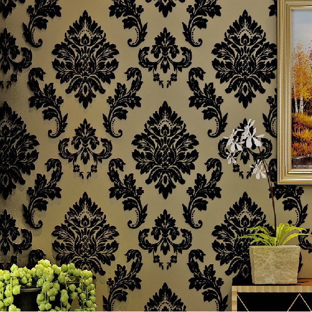 ФОТО Black Velvet Flocked  Damask Wall Coverings Classic Wallpapers zk72