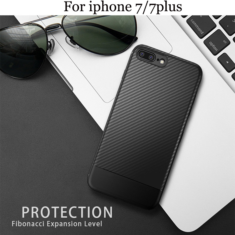 2pcs For iphone 7 7plus Case cover Carbon fiber TPU soft Back cover For iphone 7 plus phone case iphone7 shell iphone7plus bag