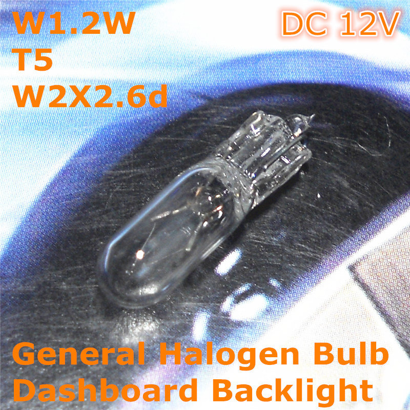 <font><b>12V</b></font> General Halogen Car Lamp Bulb W1.2W <font><b>T5</b></font> W2X2.6d for Dashboard Backlight Ashtray Light image