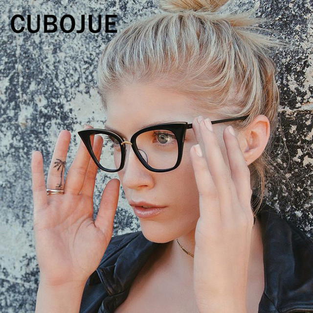 Cubojue Fashion Cat Eye Glasses Women Transparent Eyeglasses Frame with  Transparent Lens Black Female Eyewear Small 077ba7b35