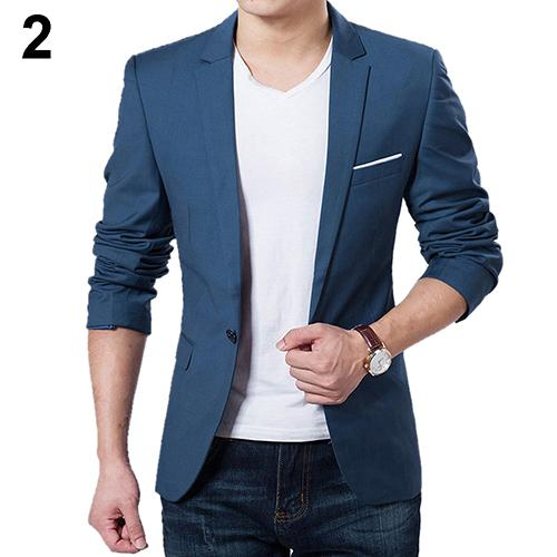 SANWOOD Men Slim Autumn Blazer Business Formal Party Male Suit One Button Long Sleeve