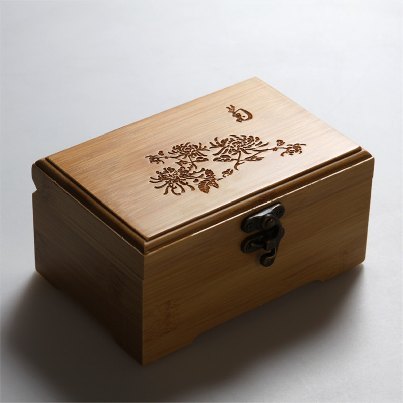 Vintage Wooden Storage Box Classic And Elegant Gift Box Jewelry Sundries  Makeup Organizer Prints Bamboo Eco