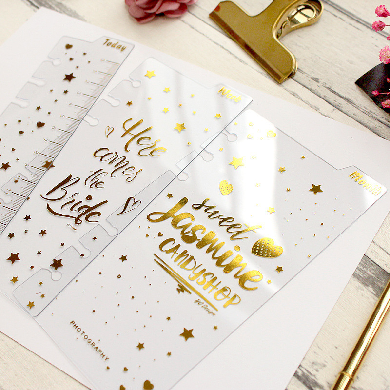 Harphia Index Page With Today Ruler Separate  3pcs/set Golden Divider A6 Loose Leaf Notebook Agenda Planner Journal Organize