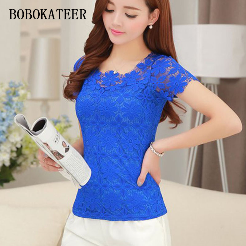 BOBOKATEER lace t shirt women t-shirt camiseta feminina t shirts women 2018 summer tops 5XL plus size tshirt tee shirt femme