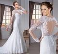 Genteel caliente venta superventas atractivo vaina de encaje vestido de opacidad volver con apliques fFull mangas 2015 vestido de noiva