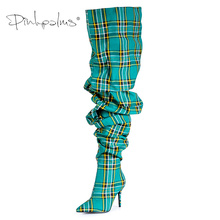 Limited Edition Pink Palms Shoes Women Pleated Boots in Sexy Winter Over the Knee Boots Women High Heels Plaid Boots Green недорого