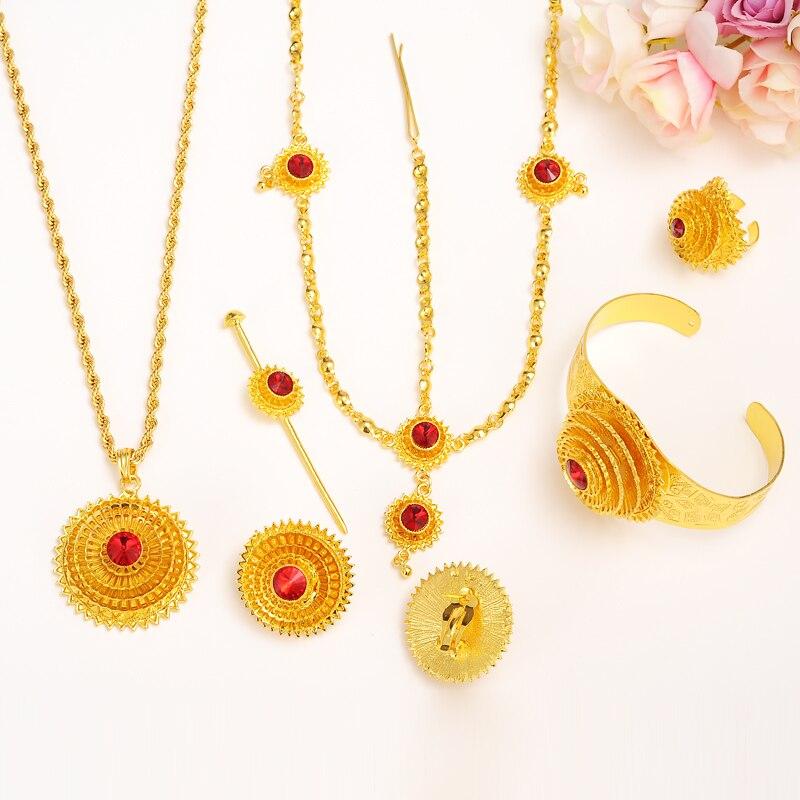 Bangrui Большой Мода Эфиопии Ювелирные наборы с волос шт Золото Цвет красный камень Ювелирные наборы для эфиопских женские аксессуары