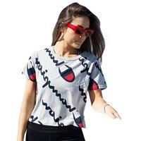 Moda casual camisetas mulheres 2018 primavera verão cinza de alta qualidade de impressão Digital de manga curta o pescoço fino lady camiseta atacado