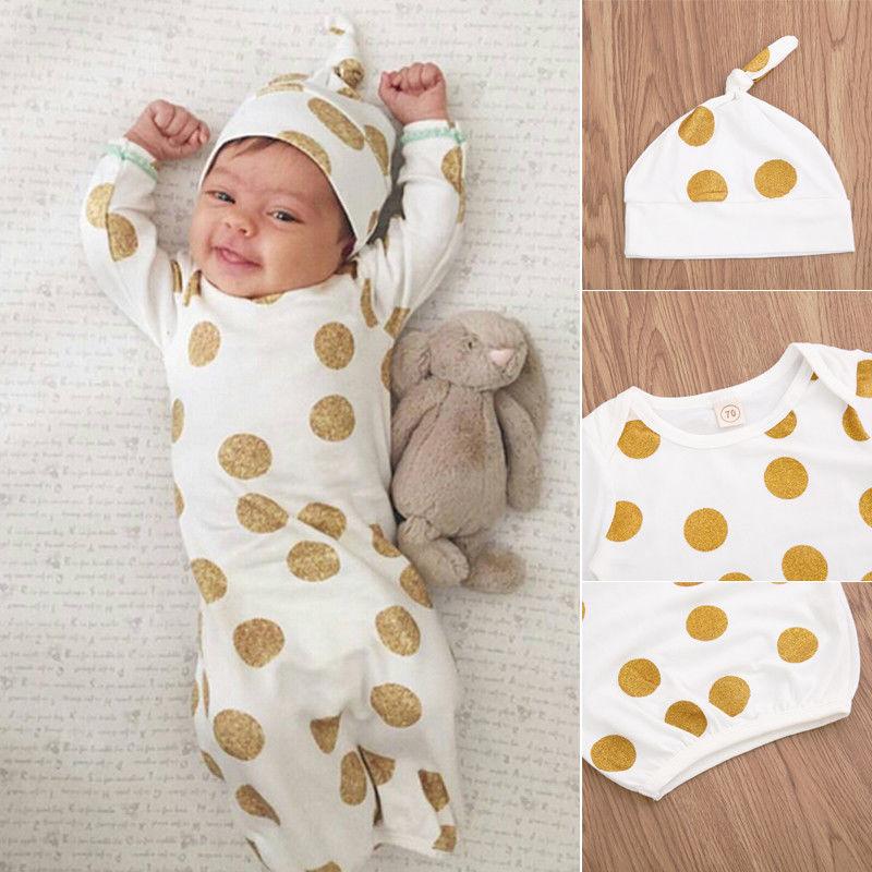 2 Stks Baby Baby Meisje Jongen Nachtjapon Gewaad Nachtkleding Badjassen Pyjama Hoed Lange Mouwen Outfits Perfect In Vakmanschap