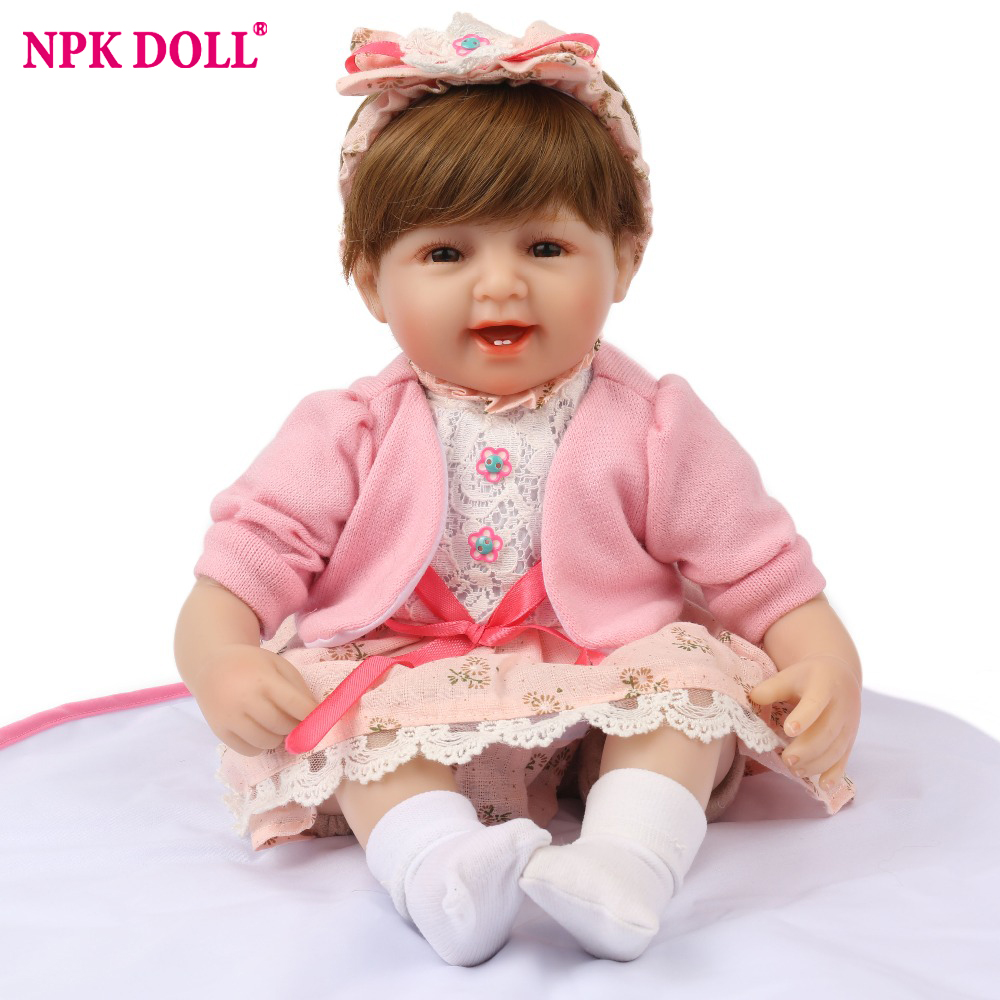 NPK DOLL Reborn Baby 45cm Silicone Smile Girl  Pink Bebe Bowknot Hairband Educational Lovely  Kid 16 inch Brown Hair wig NPK DOLL Reborn Baby 45cm Silicone Smile Girl  Pink Bebe Bowknot Hairband Educational Lovely  Kid 16 inch Brown Hair wig