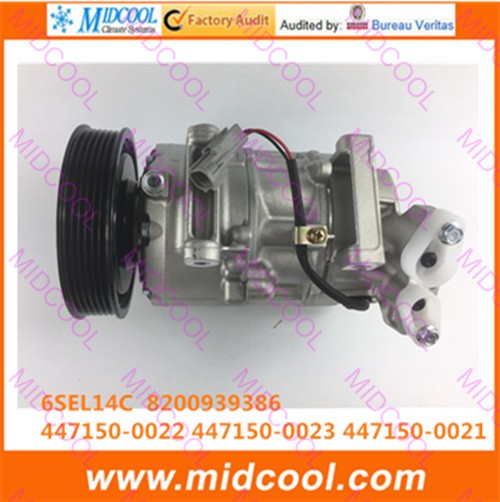 HIGH QUALITY AUTO AC COMPRESSOR 6SEL14C   FOR   8200939386 447150-0022  447150-0023 447150-0021