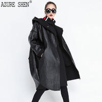 AZURE SHEN Winter Loose Hooded Trench Coat Female 2018 Spring Fashion Pockets Long Sleeve Buttons