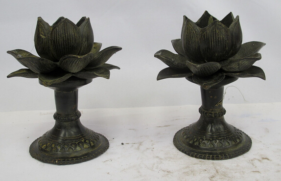 shitou 002519 Chinese Tibet Buddhism old Bronze lotus flower Candlestick Candle Holders Pair