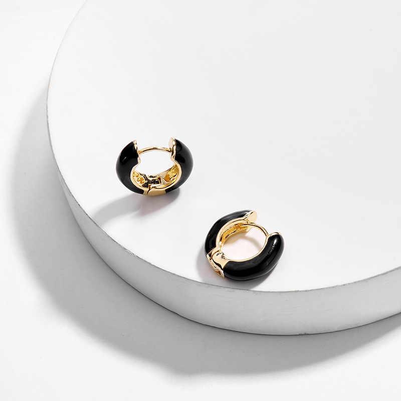 Fashion Wanita Round Lingkaran Kecil Stud Anting-Anting Punk Berkualitas Tinggi Korea Warna-warni Geometris Anting-Anting untuk Pesta Pernikahan Perhiasan Telinga