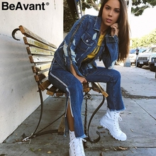 BeAvant Sexy fringe pocket boyfriend jeans women Chic side zipper denim jeans bottom Flare blue summer pants trousers femme 2018