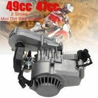 49cc Complete Engine 2 Stroke Pull Start W/Transmission Silver For Mini Dirt Bike