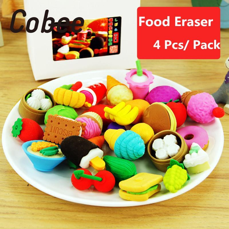 Cobee 1 Pack 4Pcs Funny Cute Food Rubber Pencil Eraser Set Stationery Novelty Party High ...