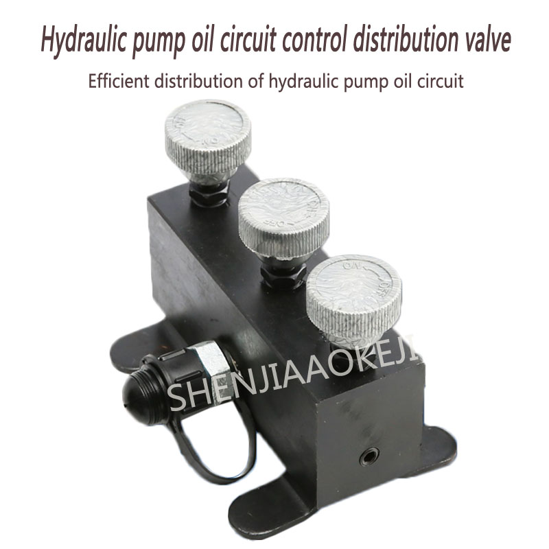 Hydraulic high pressure three-way valve Oil circuit splitter Hydraulic pump oil circuit control distribution valve 1PC цены