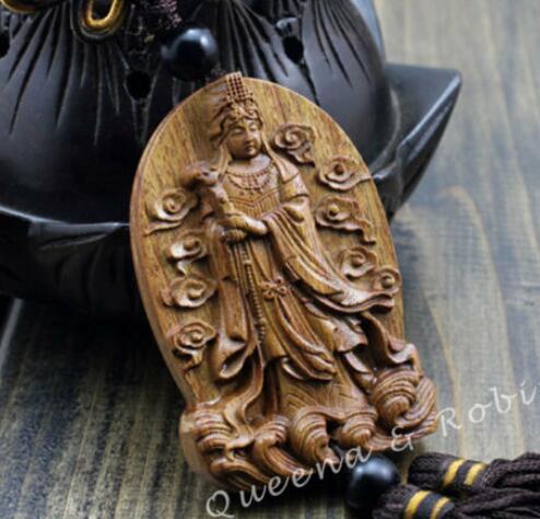 Chinese Knot Wood Carving Mazu Goddess Matsu Kwan Yin Statue Car Pendant Amulet