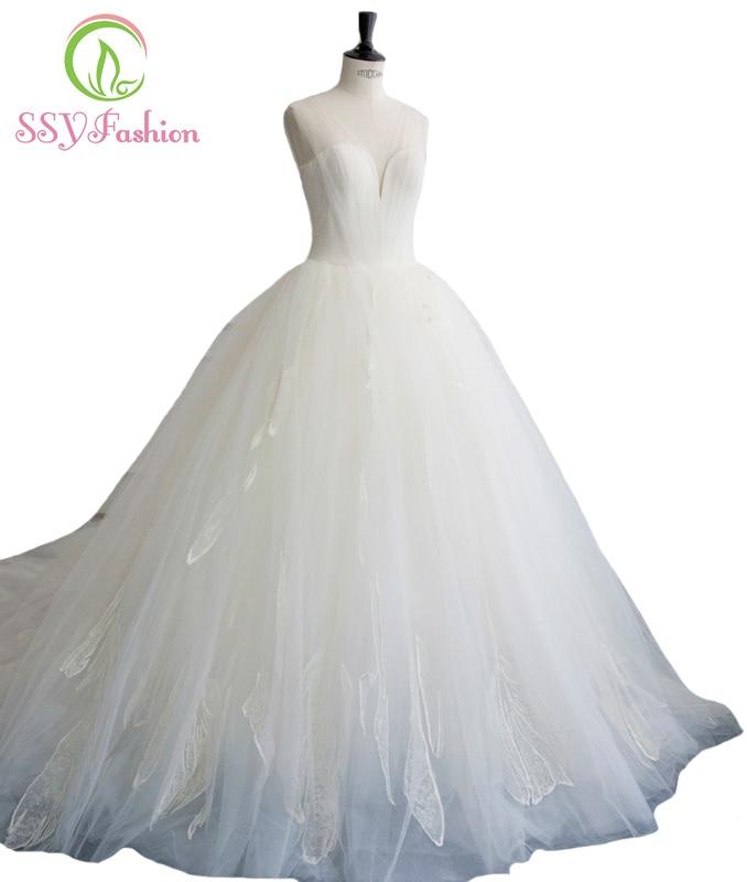 Ssyfashion Long Sleeve Wedding Dresses The Bride Elegant: SSYFashion New Simple Lace Flowers V Neck Court Train Long