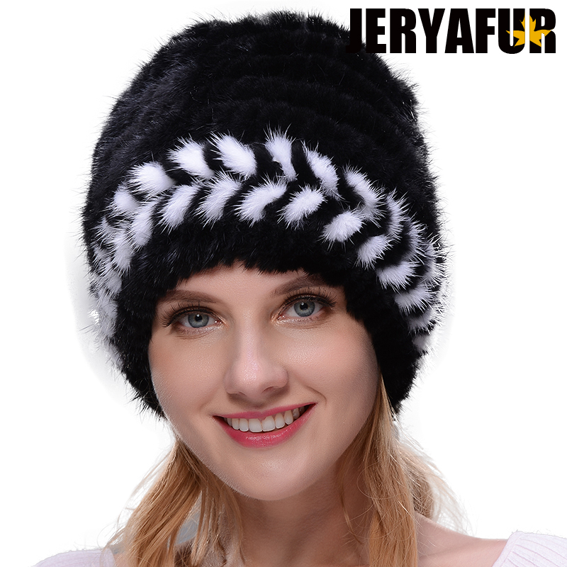 JERYAFUR New knit hat winter womans ski cap protects the ear real mink fur hat silver fox fur hat Russian woman free shipping