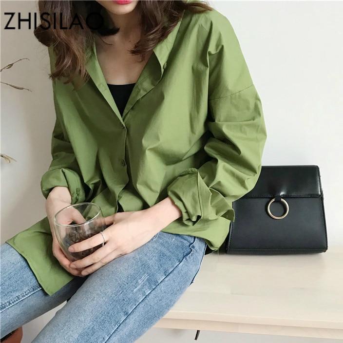 ZHISILAO Loose Vintage Shirt Women Green Long Sleeve Blouse Autumn Spring Solid Cotton Woman Top Oversize Blouse Maxi Harajuku