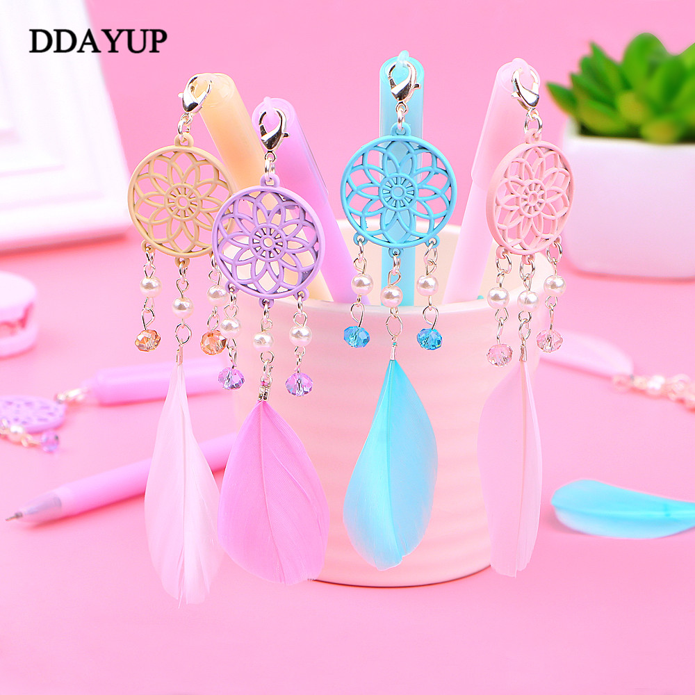 1Pcs Cute Dreamcatcher Gel Pens Creative Feather Pens Kawaii Pendant Neutral Pen For Kids Gift School Office Supplies Stationery