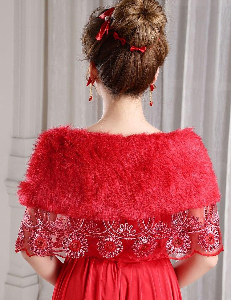 Lace Wedding Bolero Outerwear Wedding Accessories Urged Wrap Bride Formal Winter Cape Bride Fur Shawl Wedding Jackets OJ00186