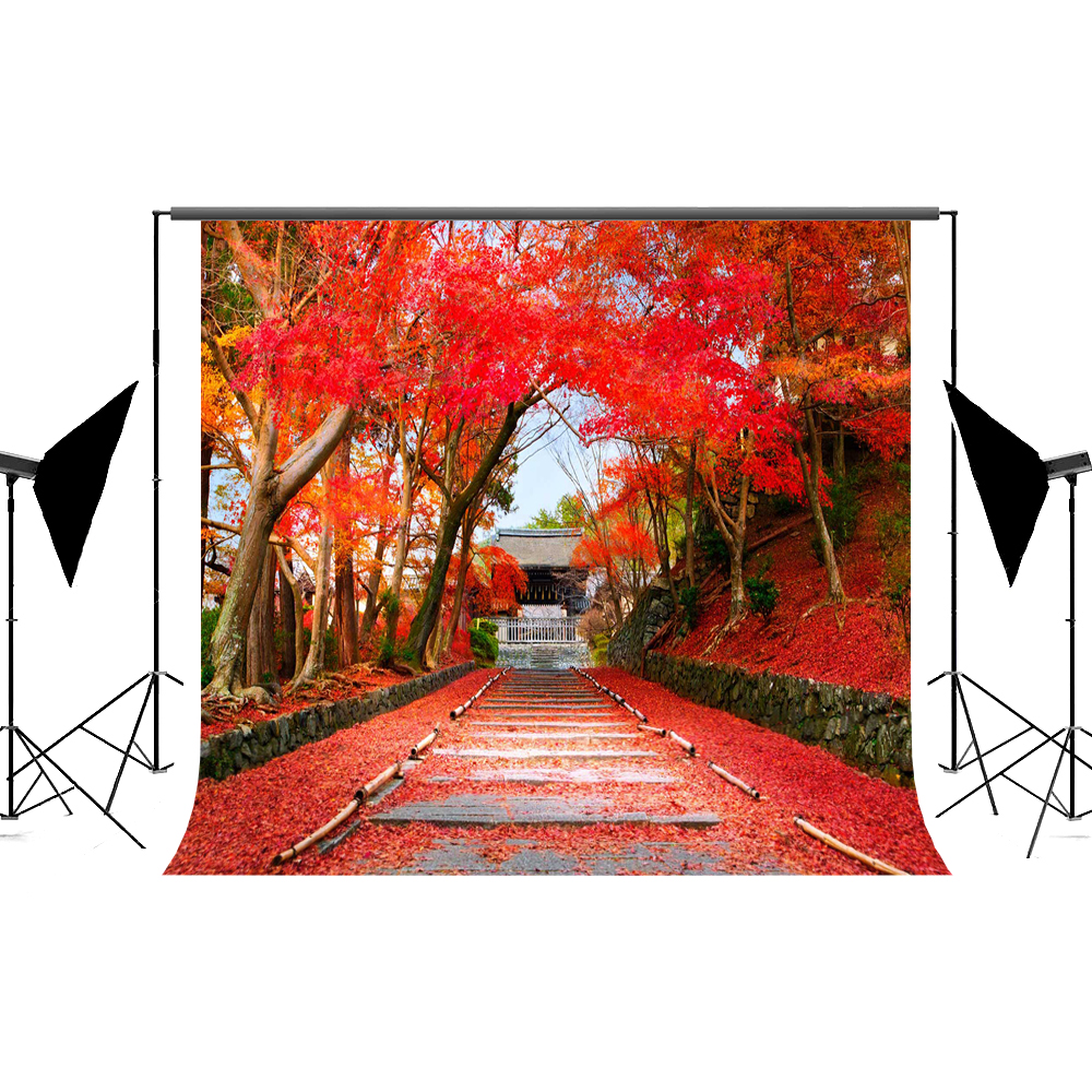 Kate Autumn Backdrops Photography Red Maple Leaf Photo Backdrops Scenery Trees Road Backgrounds For Kid Photo Studio kate 5x7ft autumn scenery backdrops