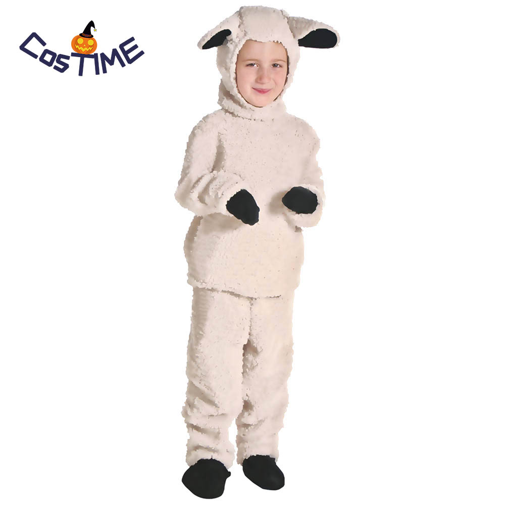 Little Lamb Costume Kids Sheep Costume Suit Animal Costume Fancy Dress Top Pants with Hood Halloween Costume for Kids