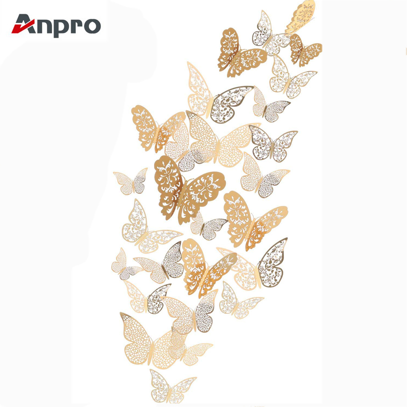 Anpro 12 Pcs 3D Hollow Gold Butterfly Wall Stickers DIY Fridge Decals Glitter Art Murals For Wall Or Party Decorations