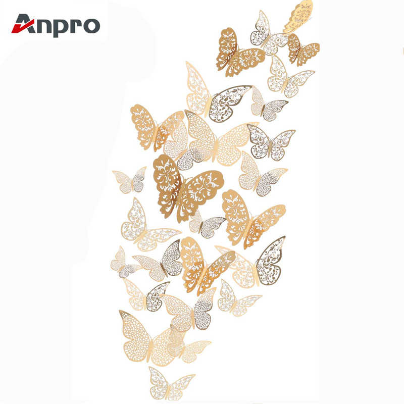 Anpro 12 piezas 3D calcomanías de pared de mariposa doradas DIY calcomanías de nevera murales de arte brillante para decoración de pared o fiesta