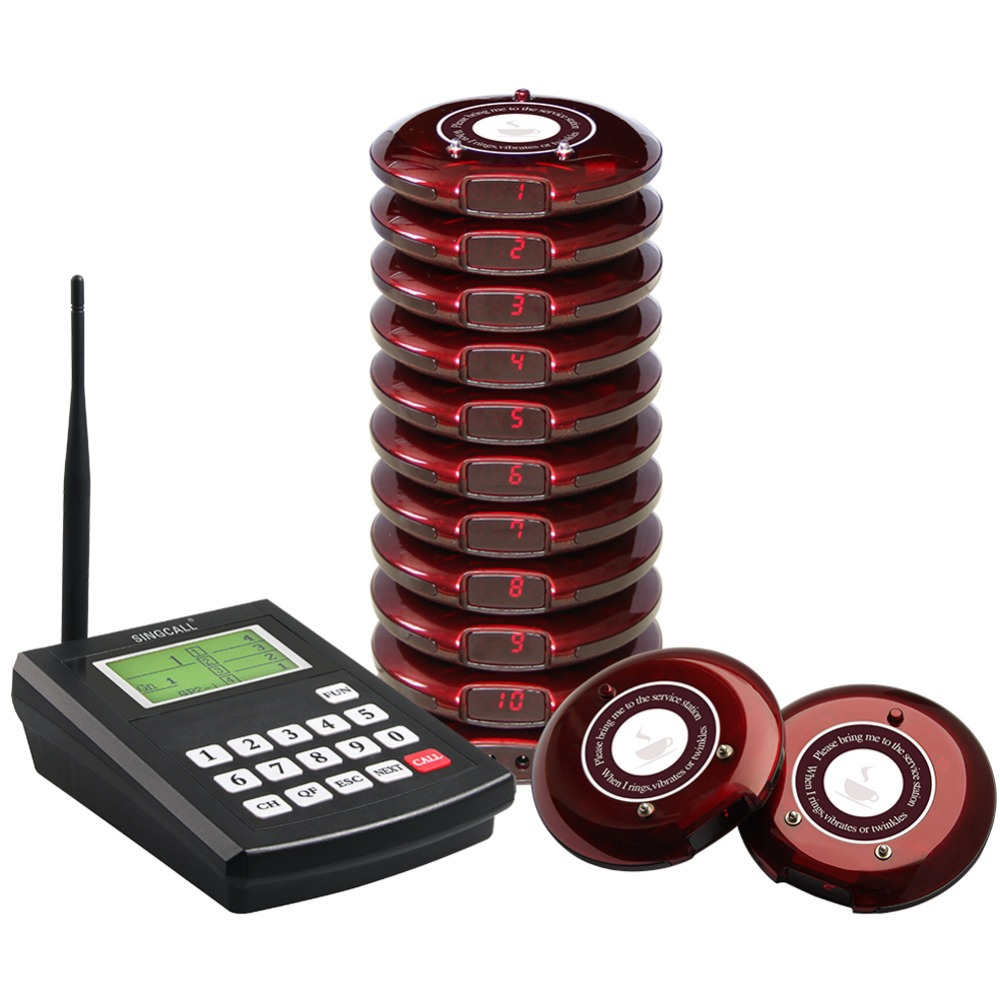 цена SINGCALL Wireless Coaster Pager system,restaurant queue paging system,Queuing System Calling Button,take food to use