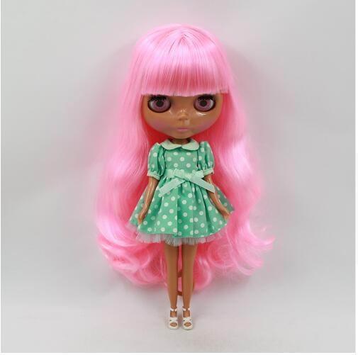 Розовые волосы Обнаженная кукла blyth черная кожа фабрика кукла милые куклы кукла 1/6 PP