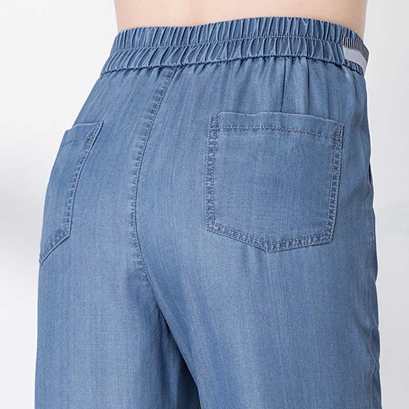 2019 ניו נשים של ג 'ינס ג' ינס קיץ גבוה מותן הרמון ג 'ינס גומייה רופף בתוספת גודל רך דק למתוח ג 'ינס חגורת S 5XL