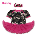 Summer Fashion Baby Girl Dress Camo Baby  Clothing Casual Infant Romper With Bow Girl Dress Vestidos Infantis