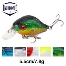 Купить с кэшбэком HAODIAOZHE 5.5cm 9g Mini Crankbait Fihisng Lure Laser 3D Fish Eryes Topwater Crazy Wobblers Floating Minnow Baits Takckle YU76