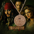 pirates of the caribbean necklace Jack Sparrow Aztec coin medallion vintage gold and bronze pendant Johnny Depp wholesale