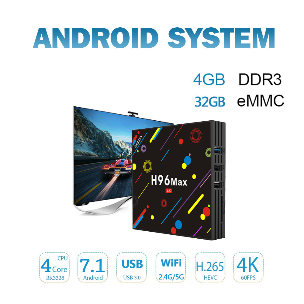 H96 MAX H2 Android 7.1 Smart TV box 4GB RAM 32GB ROM Set Top Box RK3328 2.4G/5G Wifi Bluetooth 4.0 4K H.265 Media Player pk h96