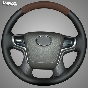 Hand Sew Black Genuine Brown Suede Car Steering Wheel Cover for Toyota Land Cruiser 2016