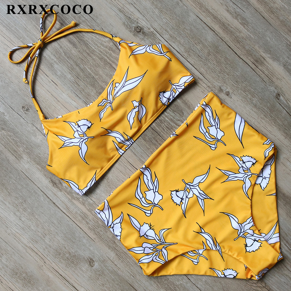 RXRXCOCO Hot Sexy High Waist Bikinis Women Swimwear Set Strappy Swimsuit Push Up Printing Bathing Suit Brazilian Swimming Suits rxrxcoco hot swimwear women sexy lace