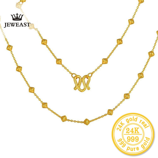 ZZZ 24kPure Gold Beaded Interval Simple New Necklaces Simple and Classic Meticulous Process Stylish and Beautiful 999 Solid Gold