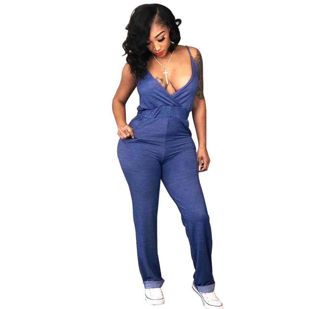 Сексуальный облегающий джинсовый комбинезон с v-образным вырезом, прилегающее обтягивающее без рукавов, однотонный синий комбинезон, женский летний элегантный обтягивающий комбинезон с открытой спиной